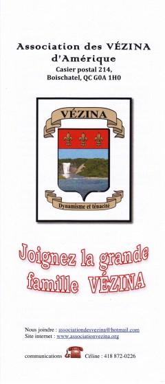2è dépliant de l'Association des Vézina 2011-12
