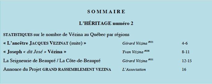 Contenu L'HÉRITAGE # 2