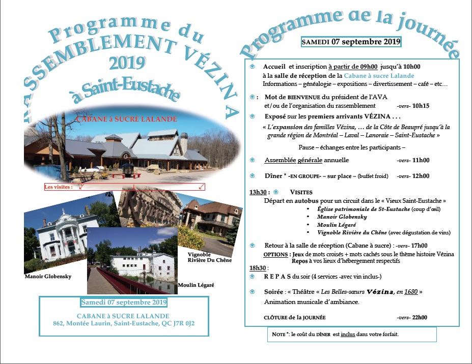 Programme Rassemblement VÉZINA 2019