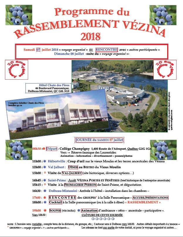 Programme Rassemblement Vézina 2018
