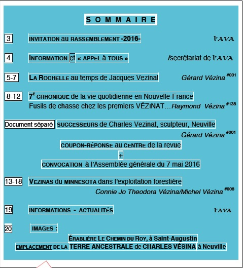 Sommaire L HERITAGE 17