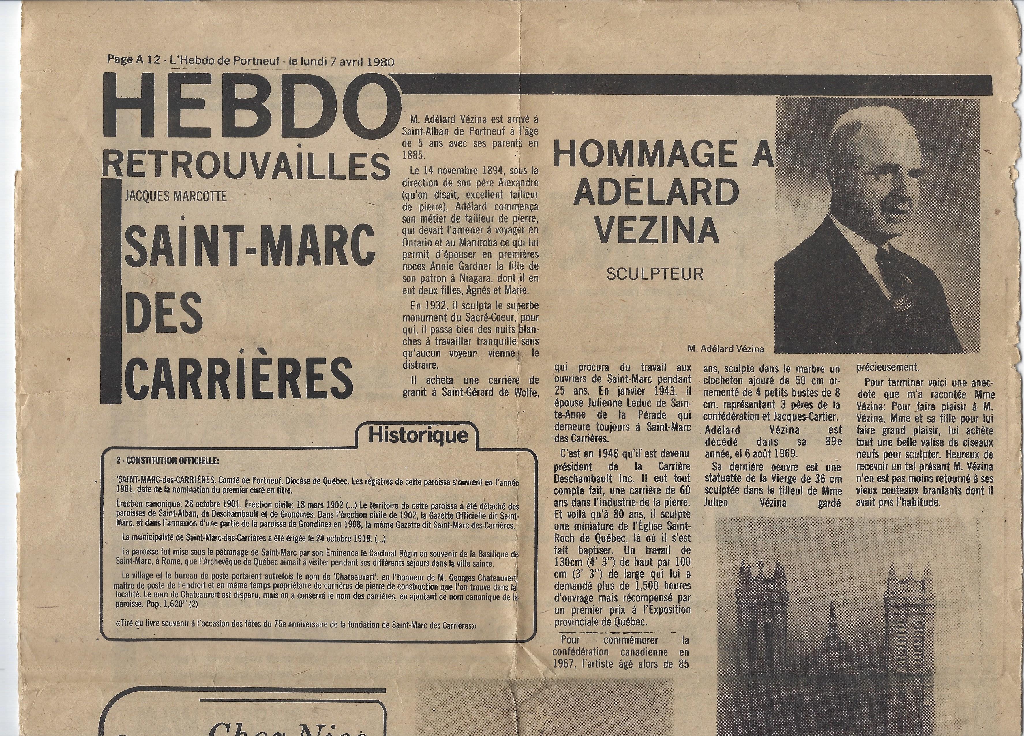 Article de journal sur l'oeuvre d'Adélard Vézina