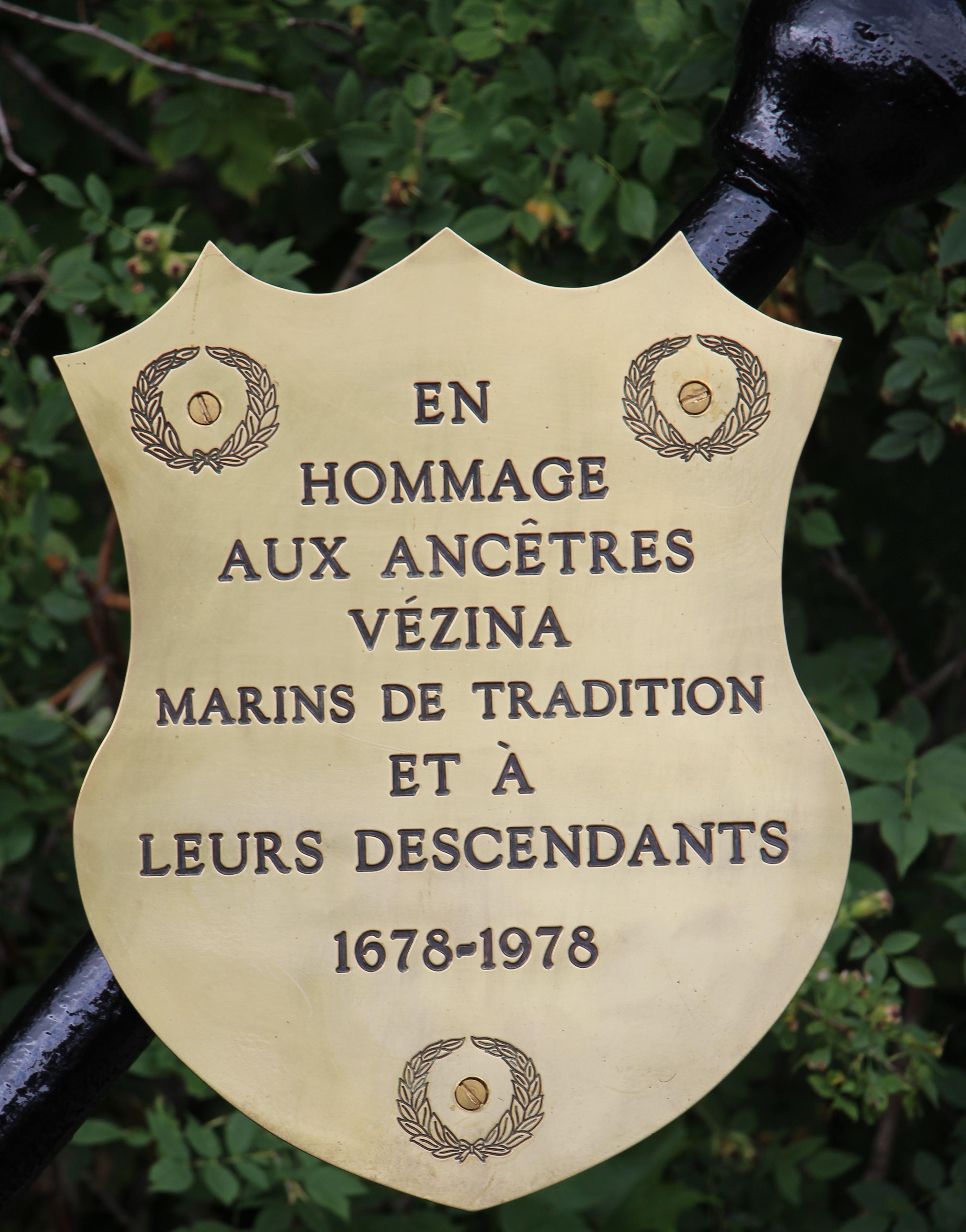en hommage aux ancêtres marins Vézina et à leurs descendants